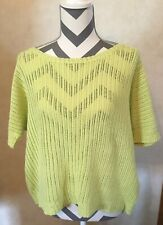 XL New York & Co Bright Yellow Women's Blouse Short Sleeve Sweater Top Shirt