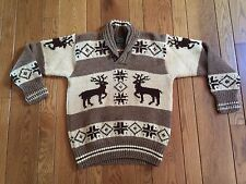 Vintage POLO COUNTRY Ralph Lauren Reindeer Brown/Tan Shawl Neck Sweater Medium