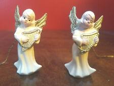 "Lot of 2 Vtg Ivory Cream w Gold Plastic Angel Ornaments w Harp Instrument 2.25"""