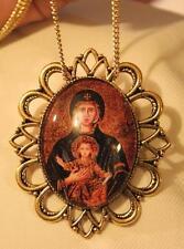 Handsome Festoon Goldtone Deep Blue Mary Madonna Theotokos Cameo Necklace Brooch