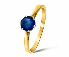 Engagement Solitaire Sapphire Yellow Gold Fine Rings