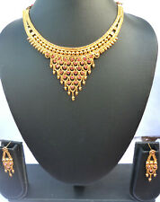 22K Gold Plated Indian Cz Necklace Earrings party Bridal Set bda