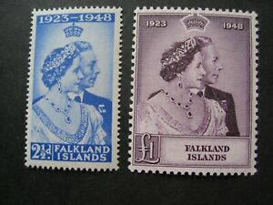 Falkland Islands 1948. Royal Silver Wedding. Set of 2 Mounted Mint.