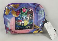 New Disney Beauty And The Beast Beauty Gold Leaf Cosmetic Make-Up Tote Bag Purse