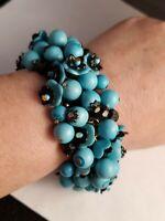 Vintage Celluloid blue bracelet marked Hong-Kong