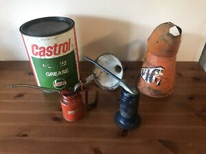 Vintage Garage Items Job Lot Castrol Grease Tin Oil Cans Jug Funnel
