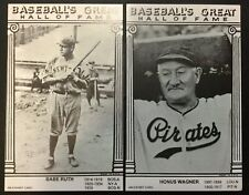 1977 Babe Ruth & Honus Wagner Baseball's Great Hall Of Fame Exhibit 2 Cards