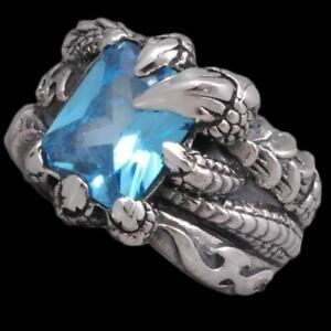 BLUE TOPAZ DRAGON CLAW FLAME FIRE WARRIOR 925 STERLING SOLID SILVER MENS RING