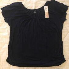 NWT! Motherhood Nursing 3X Navy Blue V-Neck Short Sleeve Top