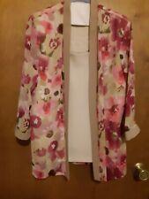 R & M Richards size 14 Floral Tan 2 piece pantsuit pants & top
