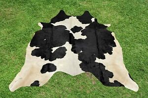 Small Cowhide Rugs Black Real Hair on Cow Hide Skin Area Rug Leather 5 x 4.5 ft