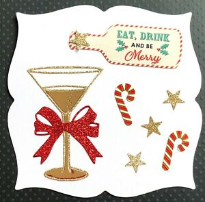 Handmade By Susie Eat Drink Be Merry Christmas Card Topper FLAT RATE UK P&P