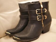 NEW W BOX WOMEN'S VERY VOLATILE BLACK LOW ANKLE BOOT GOLD SPIKED ZIPPER TOE SZ 8