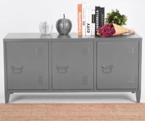 Metal Locker Cabinet Vintage Retro Sideboard Industrial TV Stand 3 Door Cupboard