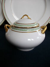 LIMOGES-PORCELAINE LIMOUSINE/REDON-GRN GREEK KEY c1905+ COVERED SUGAR BOWL!!!