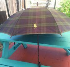 "Vintage Ralph Lauren Polo Logo Navy Green Plaid 44"" Umbrella Curved Wood Handle"
