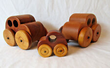 Vintage Wooden Volkwagon Beetle Toy Cars Set of 3. Mom, Dad and Baby