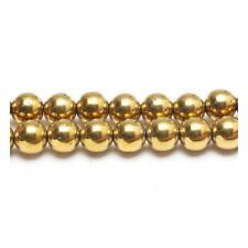 Pakje 8 x Gouden Hematiet (Niet Mag) 8mm Rond Kralen VP1355