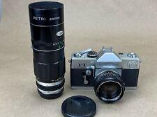 Petri FT Vintage Camera Set w/ 2 lenses 55mm f/1.9 & 200mm F/3.5 - works Great