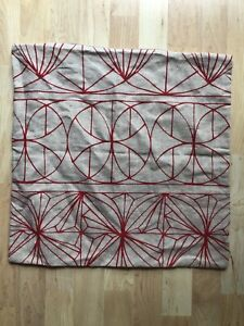 """Ikea Ryssby Pillow Cover 20"""" Square Geometric Linen Cotton Beige Red Zip Close"""