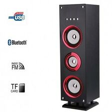 Red Bluetooth Tower Speaker Led 25W Rechargable FM Radio USB TF Card Slot