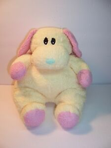 TY DOGBABY YELLOW/PINK PILLOW PAL DOG  - PLUSH  BABY RATTLE - 1999 - VGC