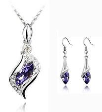 Wedding Jewellery Set Purple Crystal Eyes Drop Earrings & Pendant Necklace S593