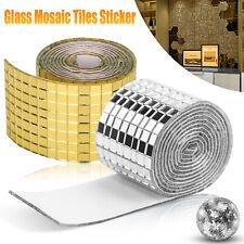 Diy Mirror Glass Mosaic Tiles Sticker Self Adhesive Wall Decal Home Art Decor Us