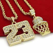"14K Gold Plated Hip Hop Iced Out Basketball & 23 Pendant w/ 4mm 24"" Rope Chain"