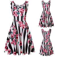 Sexy Women Sleeveless Floral Print Summer Beach A Line Casual Dress Party Dress
