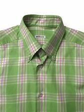 Kiton Mens Green and Pink Plaid Shirt Size Small Made in Italy 100% Cotton