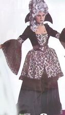 3 Piece Creepy Alluring Black & Silver Mistress De Sade 18th Century Costume S-M