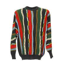 Vintage Strickpullover Herren Gr. L Retro Muster Sweater Rundhals Coogi Style