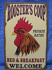 Rooster's Coop B&B Tin Metal Advertising Sign Farm Barn Chicken Bed Breakfast