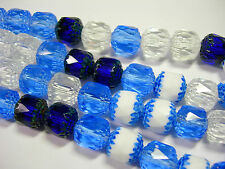 20 Cobalt Blue, Sapphire, White, Crystal Mix Cathedral Czech Glass 10mm beads