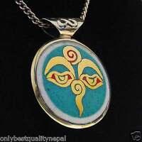 Buddha Amulett Nepal Anhänger golden Tibet Mandala Auge a77