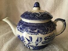 Blue willow pattern small teapot Staffordshire W Adams & Sons England
