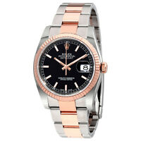 Rolex Oyster Perpetual Datejust 36 Black Dial 18K  Gold Mens Watch 116231BKSO
