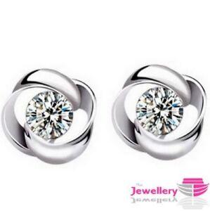 925 Sterling Silver Women's Swirl Stud Round Crystal Earrings CZ Cubic Zirconia