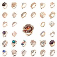 Stylish glamour crystal 18-k rose gold-plated wedding ring for ladies