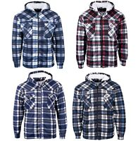 MENS PADDED SHIRT FUR LINED LUMBERJACK FLEECE WORK JACKET WARM THICK CASUAL TOP