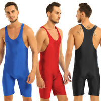 Men Leotard Bodysuit Modified Wrestling Singlet Tight Jumpsuit Underwear Fitness