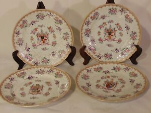 4 19th C French SAMSON Porcelain Lowestoft CHINESE EXPORT STYLE Armorial Plates