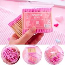 100pcs/ Pack Double Head Cotton Swab Makeup Cotton Buds Tip Wood Ears Care T US