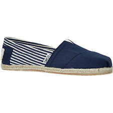 New in box TOMS Blue & White Striped Espadrille Plimsolls. Size 3. RRP. £55.