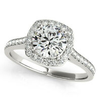 1.15 Ct Round Diamond Wedding Engagement Ring Real 14k White Gold Rings Size L N