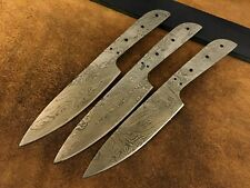 Lot of 3 Handmade Damascus Steel Chef-Kitchen Blank Blade-Knife Making-Klinge-K7