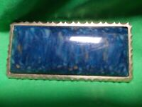 Cool Old 1920's Vintage Blue Art Glass Brooch in Steel Frame Great Condition