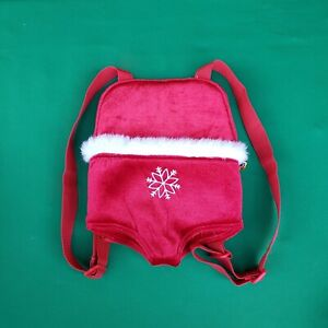Build a Bear Holiday Snowflake Velvety Red Teddy Size Carrier Backpack Accessory