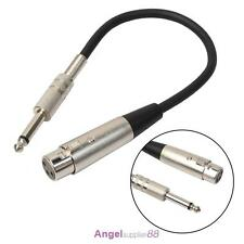 "3P XLR Female Jack to 1/4"" 6.35mm Male Plug Mono Microphone Adapter Cable"